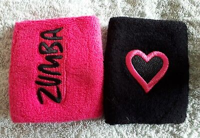 "ZUMBA SWEATBAND / WRISTBAND - ""ZUMBA HAS MY HEART""  - BLACK or PINK - BRAND NEW"