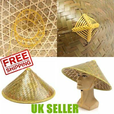 Durable Chinese Oriental Coolie Straw-Bamboo Sun Hat Farmer Rice Hat Fishing RX