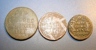 Russian Monarchy Moneys 1 Kopeks 1841,1861. Polushka 1735. Copper. Original.