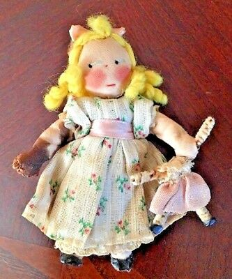 Exquisite Very Early Rag Doll  Antique Primitive Fabric Dress Wooden Legs w/Doll