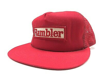 Vintage Red RAMBLER Trucker Snapback Baseball Hat, Made in United States Cars