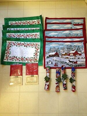 Christmas Holiday placemats, Napkins And Napkin Holders 4 Of Each Pattern. New
