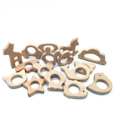 Toys Shower Teething Nature Wooden Animal Shape Baby Teether Nursing Holder
