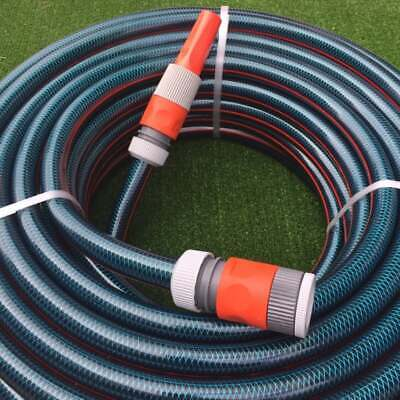 "Garden Water 20M Flex Hose 18mm - 3/4"" Plastic Fittings Nozzle 8/10 Kink-Free"