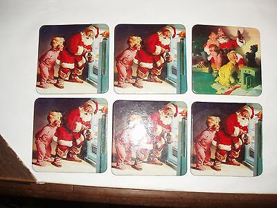 Set of 6 Christmas Coca Cola Santa Cork Backed Coasters