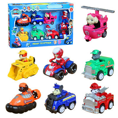 7pcs Paw Patrol Dog Action Figures Pup Doll Racer Car Set Kids Baby Boy Girl Toy