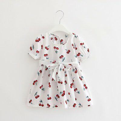 Fashionable Baby Girls Princess Dress Floral Printed Party Dress AB