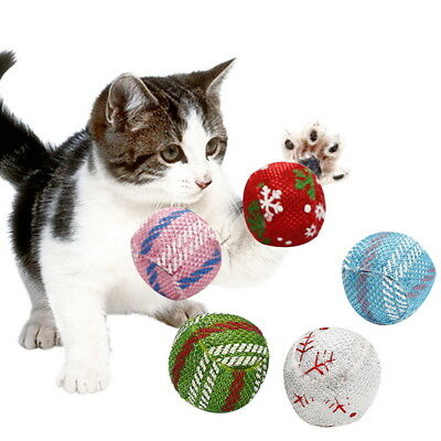 NEW Cat Toys Cotton Chew Toy Ball Mint Scratch Teeth Cleaning Pets Supplies ##