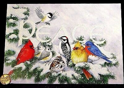 Birds Cardinals Tree Snow Peace *GLITTERED* LARGE Christmas Greeting Card - NEW