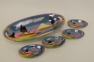 Hand Painted Ceramic Oval Platter 4 Small Saucers Japanese Theme Scenery Vintage