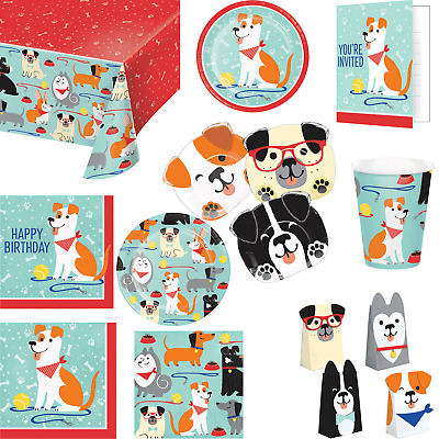 Dogs Pet Dog Animal Birthday Party Tableware Plates Cups Napkins Gift Treat Bags