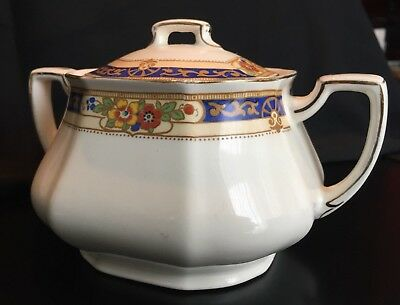 Grindley Averno pattern vintage sugar bowl and lid