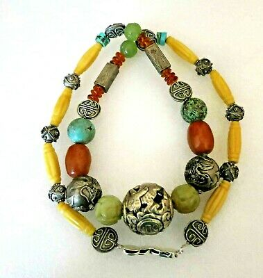 Vintage Antique Chinese Jade Shou Carved Beads Amber Turquoise Necklace 31""