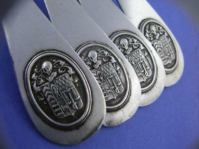 4 Early French 950 Sterling Silver Dinner Forks PIERRE QUEILLE Paris w/ crests
