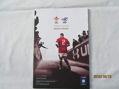 Wales v France. Rugby Union. Programme 2018. 6 Nations.. Principality Stadium.