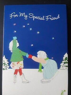 Christmas Card ~ Leanin' Tree ~ to Special Friend ~ Ice Skating