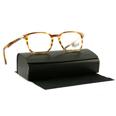 be54908a9d0 Persol Eyeglasses PO 3161V 1050 Striped Brown Yellow Plastic 52 19 145 Demo  Lens