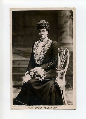 British Royalty, Queen Alexandra with dog on lap, RPPC real photo, Valentine's