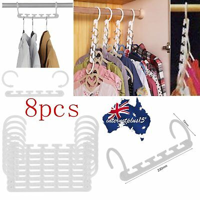 @_8 Pcs Space Saver Wonder Magic Clothes Hangers Closet Organizer Hook Rack MG#