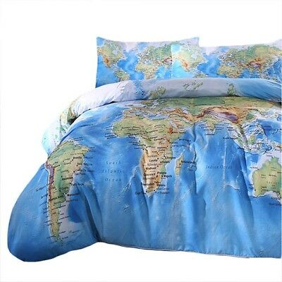 World Map Bedding Set Vivid Printed Blue Quilt Cover Set BeddingOutlet 3 Pieces