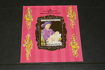 Burkina Faso 1985 Gold Foil Queen Mothers 85Th Birthday  M/sheet  Fine M/n/h