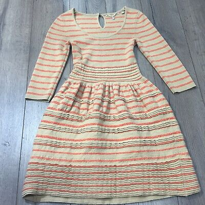 f79685af75b Knitted   Knotted Anthropologie Elodie brown Orange Striped Sweater Dress  XS EUC