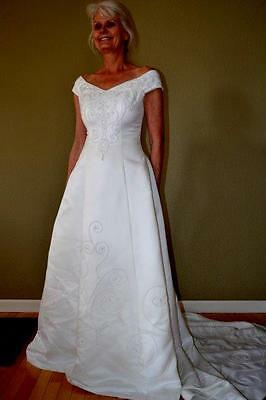 Modern Style Satin Wedding Dress With Lace Layers A Long