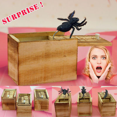 Wooden Prank SPIDER Scare Box Home/Office Funny Practical Joke Gag Toy Novelty