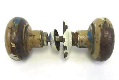 Vintage Door Knobs With Rod And Backplates Metal With Tan Blue & White Paint