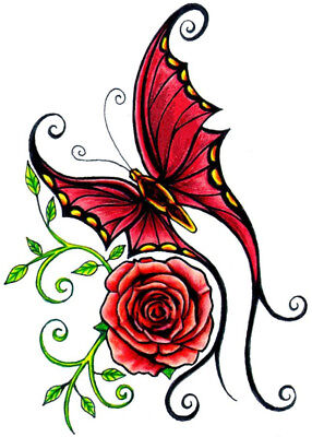 High Quality 9.5cm x 6.5cm Fake Tattoo Rose Butterfly Waterproof Temporary Art