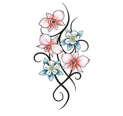 High Quality 9.5cm x 5cm Temporary Tattoo Flower Tribal Waterproof Body Art