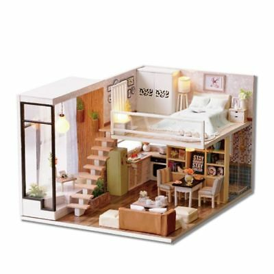 Doll House Wooden Miniature DollHouse furniture DIY Kit LED & Music Box Gift Toy