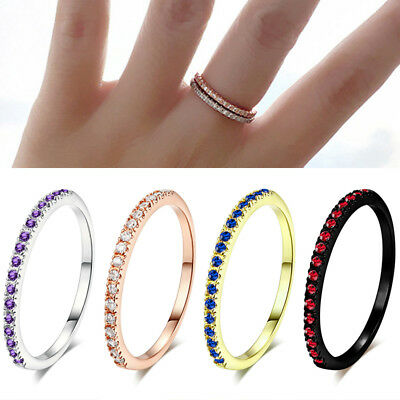Gold Plated Cubic Zirconia Ring Wedding Engagement Band Women Fashion Jewelry