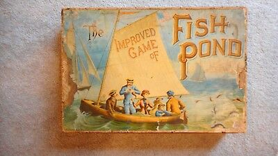 "ANTIQUE BOARD GAME ""FISH POND"" C1890 McLOUGHLIN BROS NEW YORK 18.5 X 12.5 INCHES"