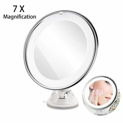 7x Magnifying LED Lighted Makeup Mirror Travel Vanity Illuminated Bathroom Oval