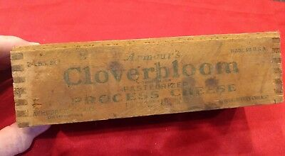 Vtg. Armour's CLOVERBLOOM Process Cheese Dovetailed Wood Box - 2 LBS.   (1018)