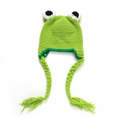 Baby Photography Props Crochet Wool Hat Cute Frog Design Photography Costume EC
