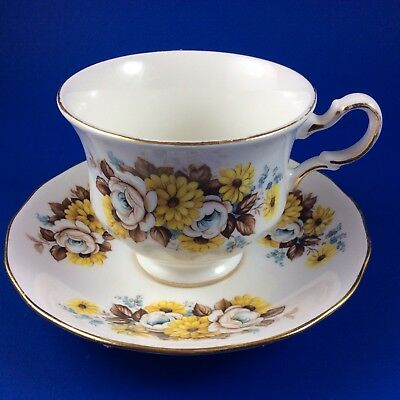 Royal Vale Yellow and Blue Floral Bone China Tea Cup And Saucer