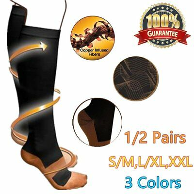 Unisex Knee High Nurse Medical Compression Travel Work Sport Socks Stockings RE