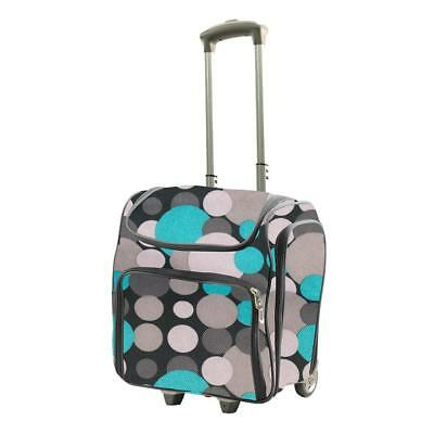 Couture Creations 'CRAFT ROLLING TRAVEL TROLLEY TOTE' 2pc Blue/Grey Spots