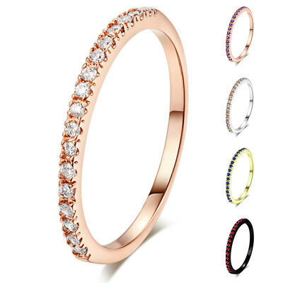 Women Fashion Jewelry Cubic Zirconia Ring Band Gold Plated Size 5.5-10 1PC