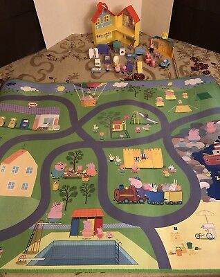 Large 24 Pc Lot Peppa Pig Dolls Figures Huge Playmat House School Furniture Cars