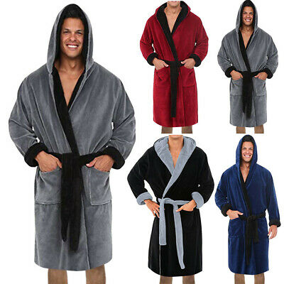 Men's Boy Winter Lengthened Plush Shawl Bathrobe Home Clothes Long Robe Coat