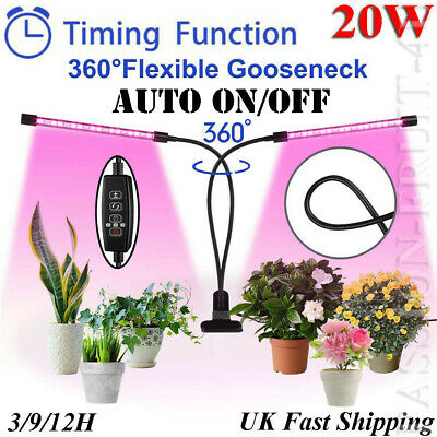 LED Grow Light for Indoor Plant, 20W Sunlike Full Spectrum,Dual Head Auto ON/OFF