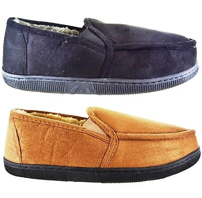 Gents Warm Winter Faux Fur Suede Indoor Comfy Flat Slippers Mens Moccasin Shoes