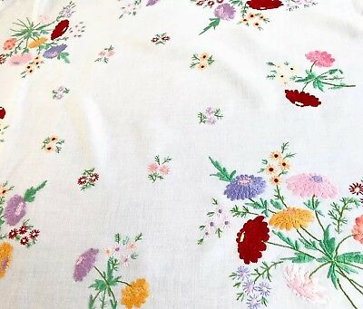 VINTAGE HAND EMBROIDERED TAUPE & WHITE LINEN TABLECLOTH 32x34 Inches
