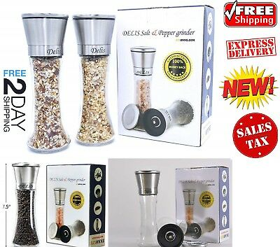 Salt and Pepper Grinders Shakers Set Mill Glass Stainless Steel Modern Spices