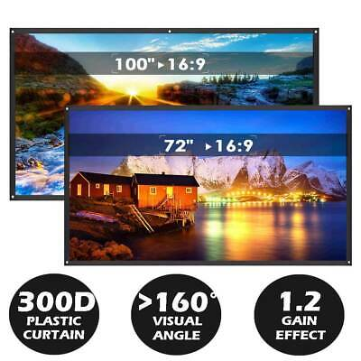 """72"""" 100"""" Projector Screen 300D Plastic 16:9 HD Portable Projection Outdoor Home"""
