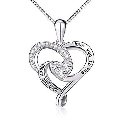 "925 Silver 'I Love You To The Moon and Back' Love Heart Pendant With 18"" Chain"
