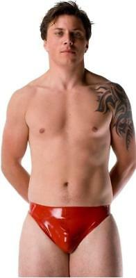 Westward Bound Latex Pouch Thong Red